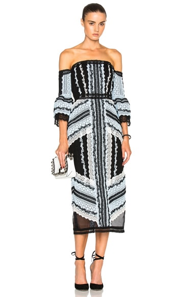 Sissy Exposed Shoulder Midi Dress
