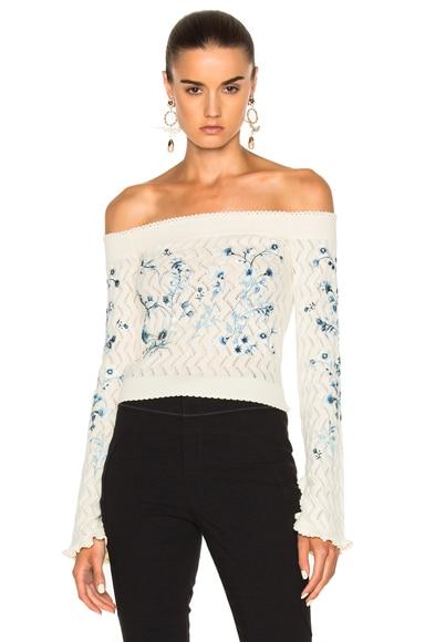 Bella Embellished Lace Knit Off The Shoulder Sweater