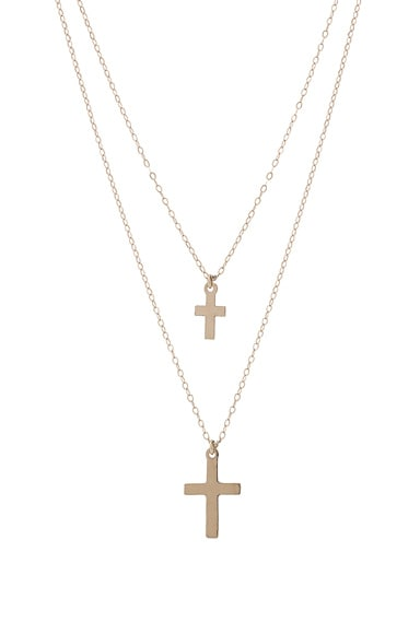 for FWRD 14K Gold Double Cross Necklace
