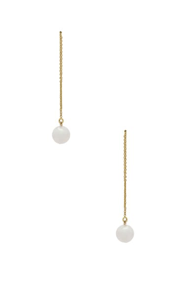 14K Gold Round Pearl Threader Earring