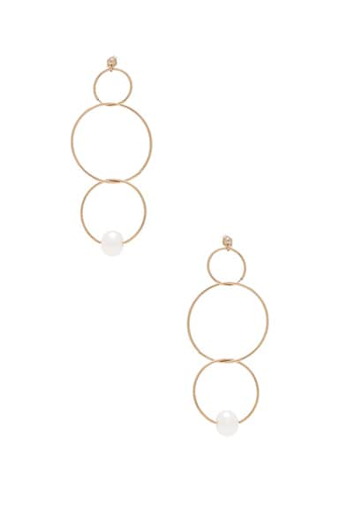 14K Gold Pearl Ring Drop Earring