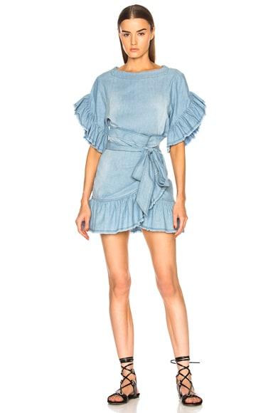 Lelicia Chambray Ruffle Wrap Dress