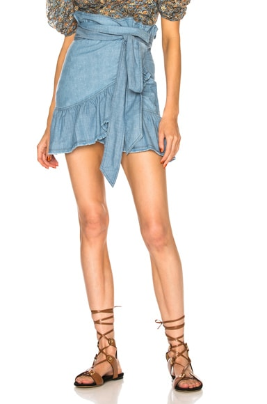Linday Chambray Ruffle Trim Mini Skirt