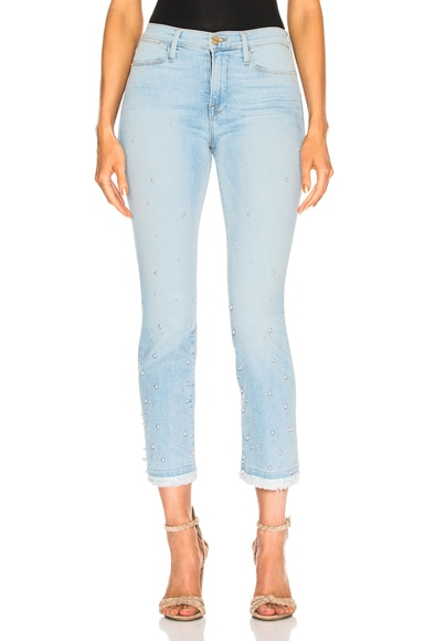 Le High Straight Double Frayed Hem Pearl Jean
