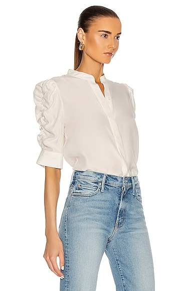 FRAME Silks SHIRRED SLEEVE BUTTON UP TOP