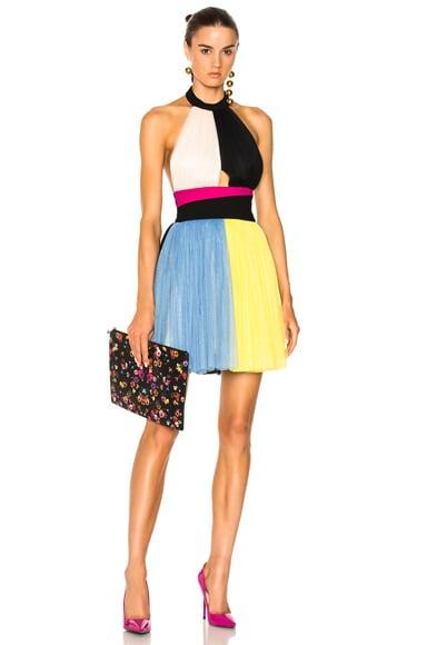 Color Block Short Halter Top Tulle Dress