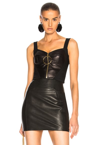 Zip Up Leather Bustier
