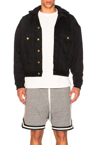 Hooded Trucker Jacket with French Terry Sleeves