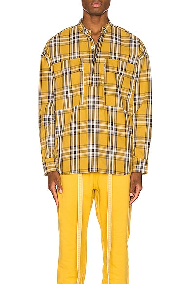 Plaid Pullover Henley in Garden Glove Yellow