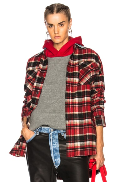 Oversized Flannel Button Down Shirt