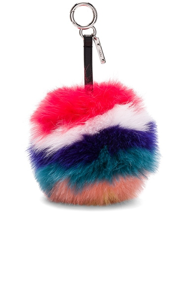 Rainbow Fox Fur Pom Pom Charm