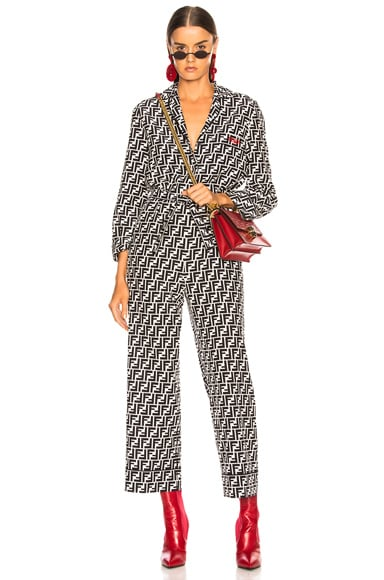 Logo Print Belted Pajama Jumpsuit