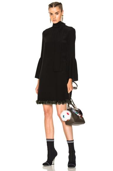 Pom Pom Trim Long Sleeve Mini Dress