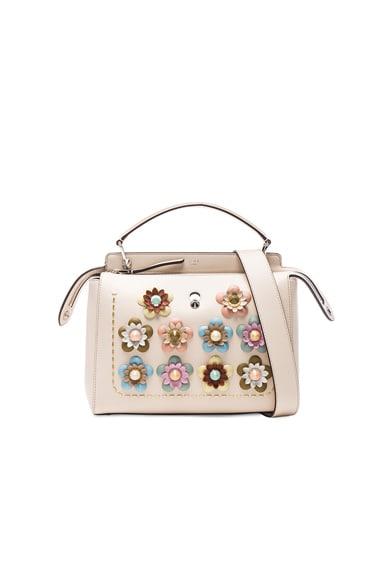 Flower Embellished Dotcom Bag in Camelia & Multicolor