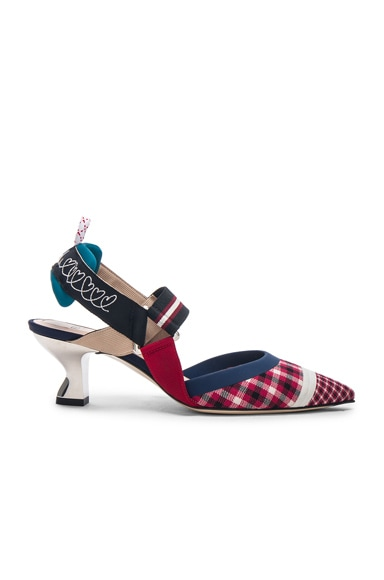Mixed Plaid Mary Jane Slingbacks
