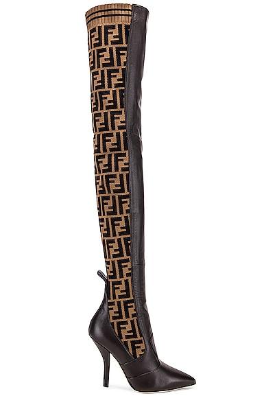 39676c353785 Logo Over the Knee Heel Boots ...