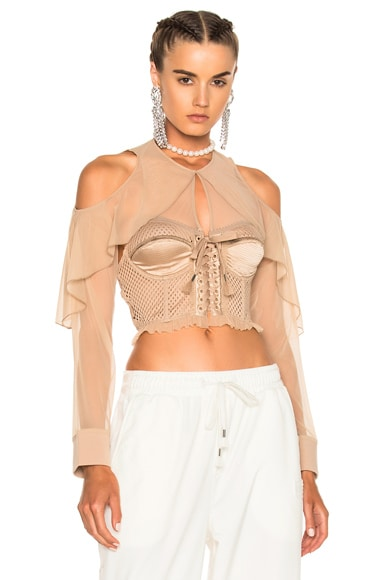 Mesh Bustier with Sleeves