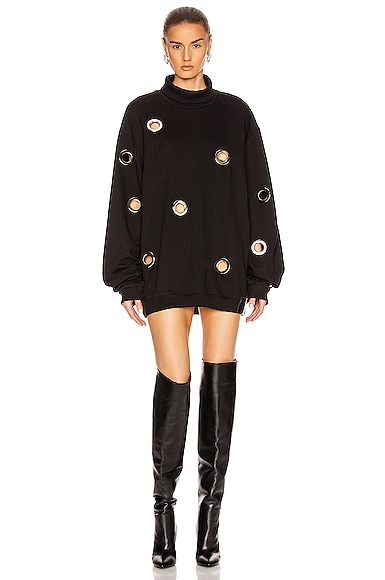 Jordy Eyelet Mock Neck Sweatshirt Dress