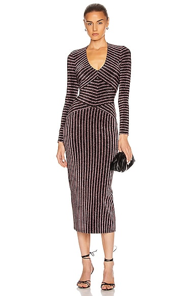 Mitered Long Sleeve Dress