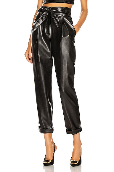 Fleur Du Mal Leathers VEGAN LEATHER HIGH WAIST BELTED PANT