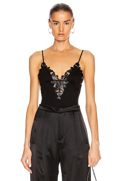 Faux Leather Lily Triangle Bodysuit