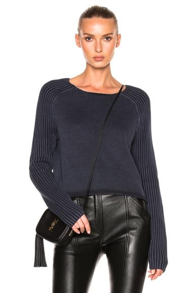Denim Crewneck Raglan Sweater
