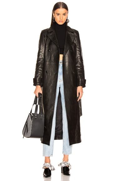 Denim Leather Trench Coat