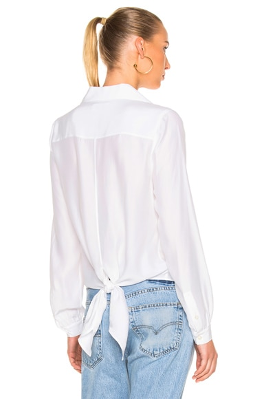Denim Tie-Back Collared Blouse