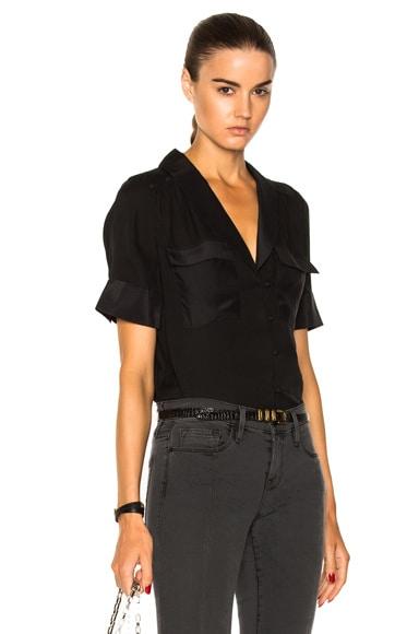 Mixed Shawl Collar Shirt