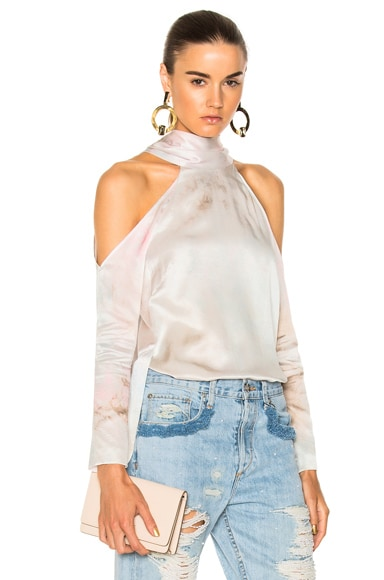 for FWRD Long Sleeve Cold Shoulder Tunic Top in Tie Dye