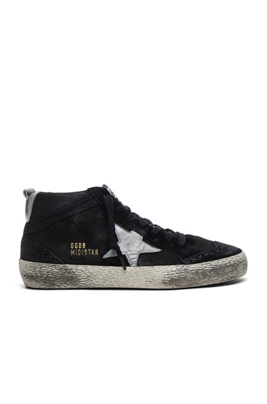Golden Goose Suede Mid Star Sneakers In Black Amp Silver Fwrd
