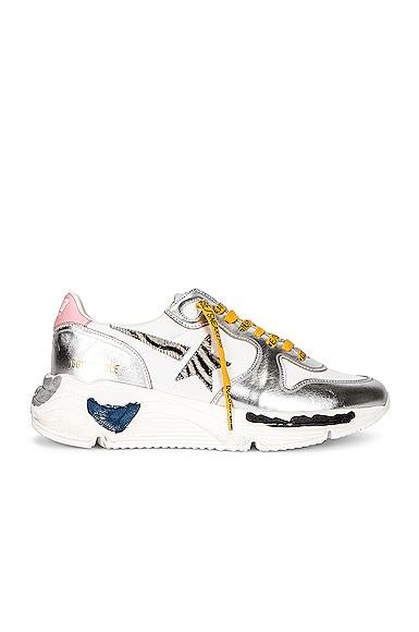 Golden Goose Running Sole Sneaker in Metallic Silver