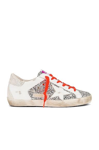 Golden Goose Super Star Sneaker in Metallic Silver,White