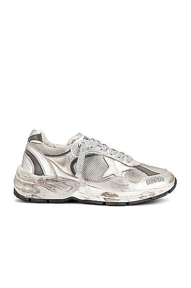 Golden Goose Running Dad Sneaker in Metallic Silver