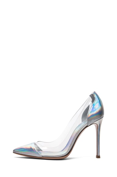Leather & Plexy Metallic Pumps