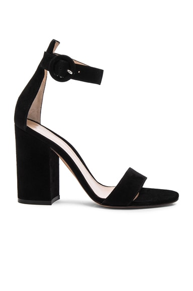 Suede Versilia Block Heels in Black