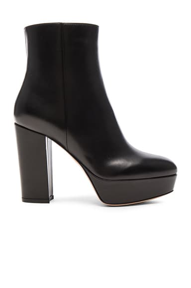 Leather Temple Platform Boots