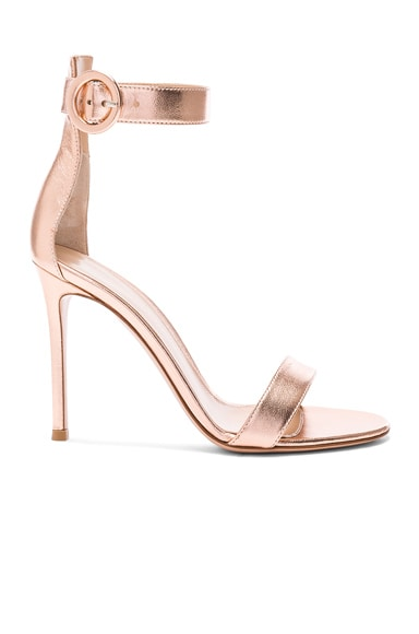 Metallic Leather Ankle Strap Heels in Praline