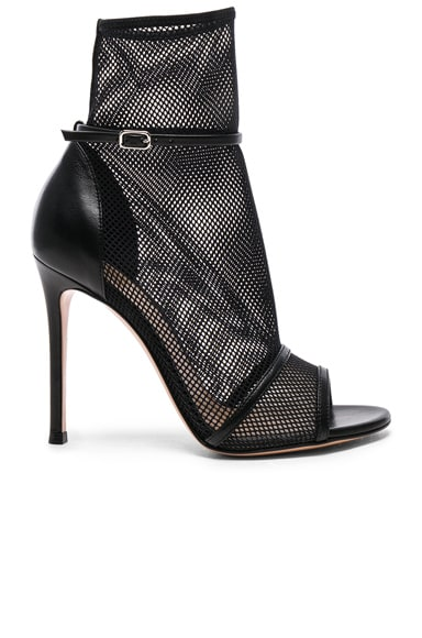 Leather & Mesh Ankle Strap Heels