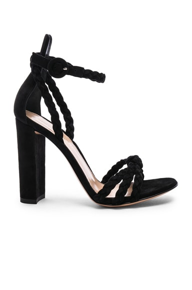 for FWRD Suede Liya Braided Strap Heels
