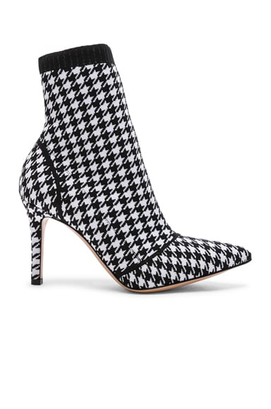 Houndstooth Knit Ankle Boots