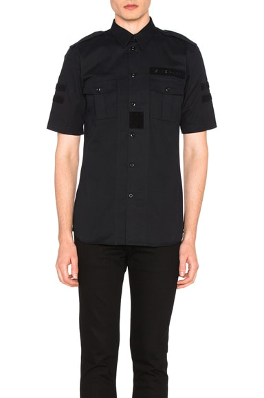 Military Velcro Patch Short Sleeve Shirt