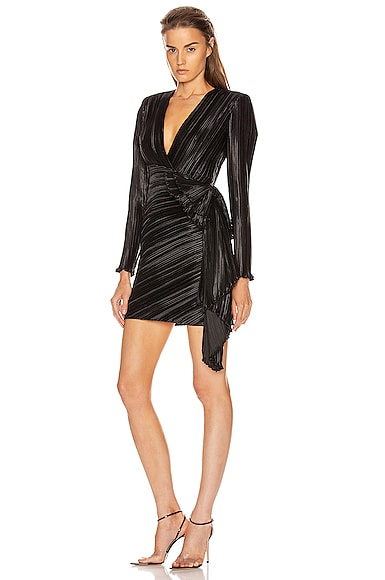 Pleated Bow Wrap Dress