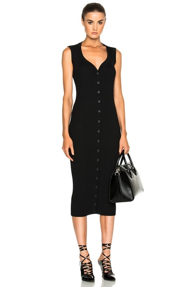 Button Front Ribbed Knit Dress