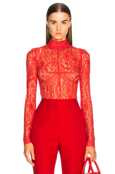 Lace Long Sleeve Turtleneck Bodysuit