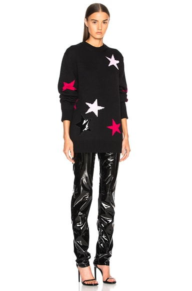 Star Print Crewneck Sweater