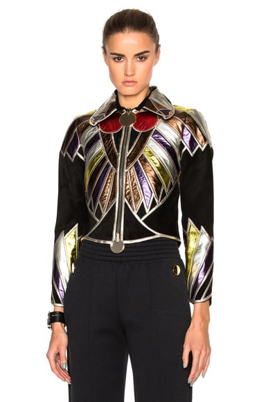Suede Embroidered Patchwork Jacket