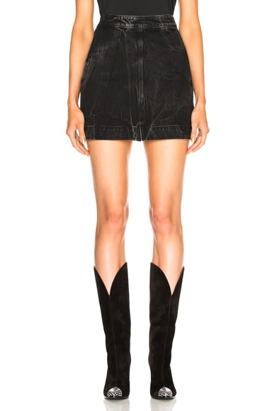 Zip Front Marble Wash Denim Skirt