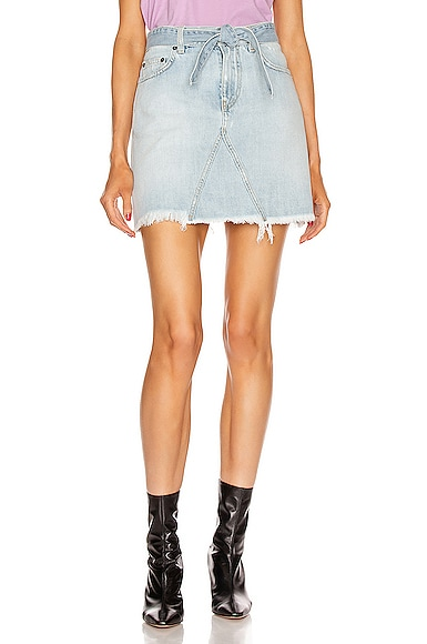 A Line Denim Mini Skirt