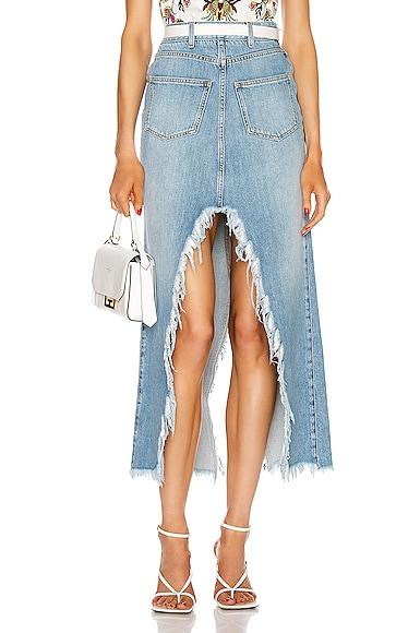 Long Cross Over Denim Skirt